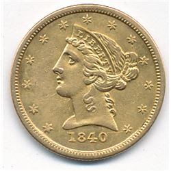 1840-O NEW ORLEANS $5 LIBERTY GOLD AU 55