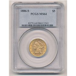1886-S SAN FRANCISCO $5 GOLD LIBERTY HEAD PCGS MS 64 BETTER DATE