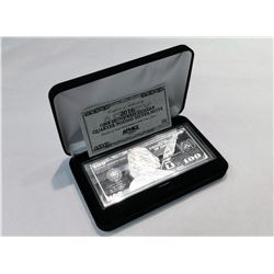 2016 SERIES $100 BENJAMIN FRANKLIN 4 OZ SILVER BAR WITH BOX AND CERTIFICATE OF AUTHENTICITY