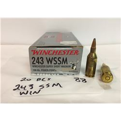 20 PCS, .243 WIN SUPER SHORT MAGNUM, WINCHESTER