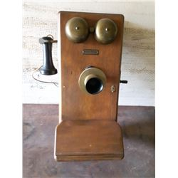NORTHERN ELECTRIC VINTAGE WALL PHONE, COMPLETE