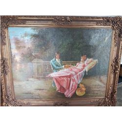 """MAYBE T.D. ROBERTS, OIL ON CANVAS, 36"""" x 48"""", GILT FRAME"""