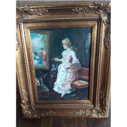 """MAYBE CATHERIN. Z...., OIL ON BOARD, 12"""" X 16"""", GILT FRAME"""