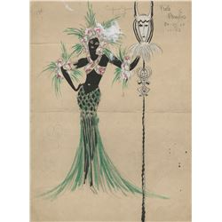 Vincente Minnelli (3) costume sketches including the 'Emperor Jones' number in At Home Abroad.