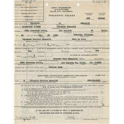 Vincente Minnelli early MGM employee ID card and personnel record.