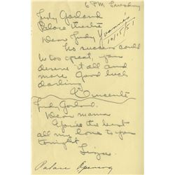 Vincente Minnelli collection of (10) pieces of correspondence & documents relating to Judy Garland.
