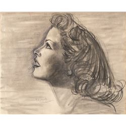 Vincente Minnelli original charcoal portrait of Katharine Hepburn.