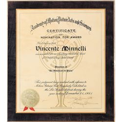 Vincente Minnelli 'Best Director' Academy Award nomination plaque for An American in Paris.