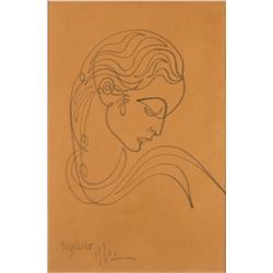 Neo-classical portrait drawing by Jean Negulesco.