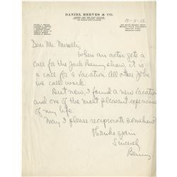 Jack Benny autograph letter signed to Vincente Minnelli.