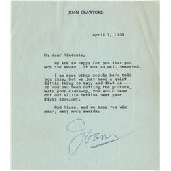 Vincente Minnelli typed letter signed from Joan Crawford regarding his Academy Award for Gigi.
