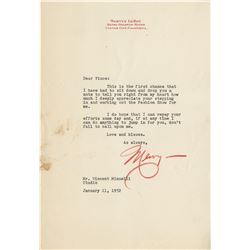 Mervyn LeRoy typed letter signed to Vincente Minnelli.