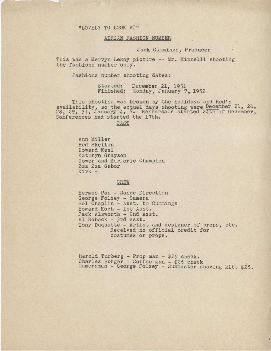 Mervyn Leroy Typed Letter Signed To Vincente Minnelli