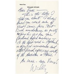 Vincente Minnelli autograph letter signed from William Wyler.