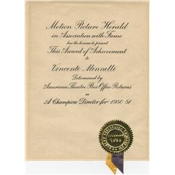 Vincente Minnelli (5) 'Champion Director' award certificates from the Motion Picture Herald.