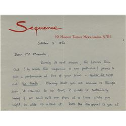 Vincente Minnelli autograph letter signed from Lindsay Anderson.