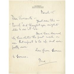 Ira Gershwin autograph letter signed to Vincente Minnelli.