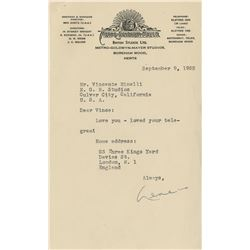 Gene Kelly typed letter signed to Vincente Minnelli.