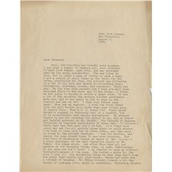 William Saroyan typed letter signed to Vincente Minnelli.