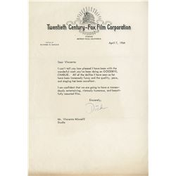 Richard Zanuck typed letter signed to Vincente Minnelli.