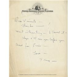 Gene Kelly autograph letter signed to Vincente Minnelli.