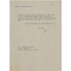 Vincente Minnelli (9) letters and notes from noted filmmakers.