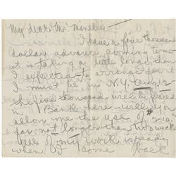 Mae Murray extraordinary autograph letter signed to Vincente Minnelli asking for a loan.