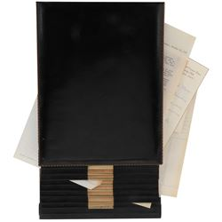 Vincente Minnelli leather desk caddy with correspondence.