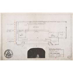 Vincente Minnelli (15+) stage design blueprints for a stage production of Mata Hari.