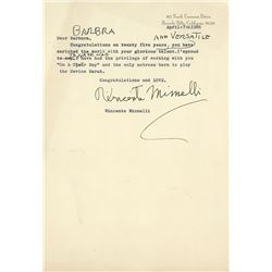 Vincente Minnelli hand-annotated typed letter signed to Barbra Streisand.