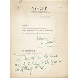 Diana Vreeland (4) typed letters signed to Vincente Minnelli.