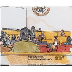 Patty Hearst trial (5) courtroom sketches by Walt Stewart.