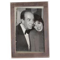 Vincente Minnelli personal nightstand photograph with Liza Minnelli in an engraved silver frame.
