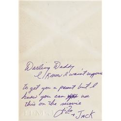 Vincente Minnelli (2) autograph notes signed from his daughter Liza Minnelli.