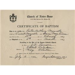 Vincente Minnelli official certifcate of baptism and certified death certificate.