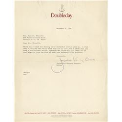 Jacqueline Kennedy Onassis typed letter signed to Lee Minnelli.