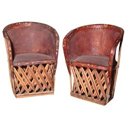 Vincente Minnelli Mexican wood lath table and (3) painted leather chairs.