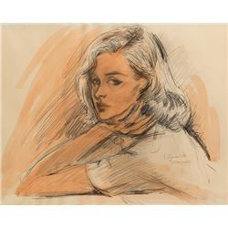 Vincente Minnelli female character study drawing.