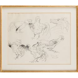 Vincente Minnelli rooster and horse animal study drawing.