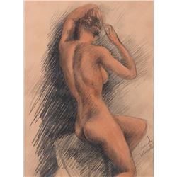 Vincente Minnelli seated female nude drawing.