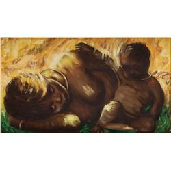 Vincente Minnelli painting of an African mother and child.