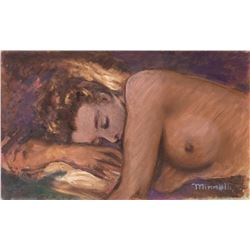 Vincente Minnelli original painting of a female nude in repose.
