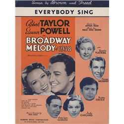 Judy Garland personal sheet music for Broadway Melody of 1938.