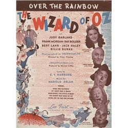 Judy Garland personal sheet music for 'Over the Rainbow' from The Wizard of Oz.