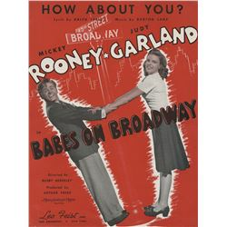 Judy Garland personal (3) pieces of sheet music from films with Mickey Rooney.