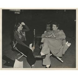Judy Garland and Katharine Hepburn intimate behind-the-scenes photograph.