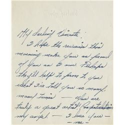 Judy Garland autograph note to Vincente Minnelli.