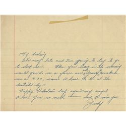 Judy Garland autograph Valentine's Day note signed to Vincente Minnelli.
