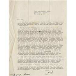 Judy Garland typed letter signed from songwriter Hugh Martin.