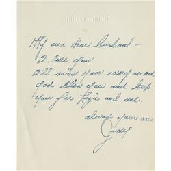 Judy Garland autograph note signed to Vincente Minnelli.